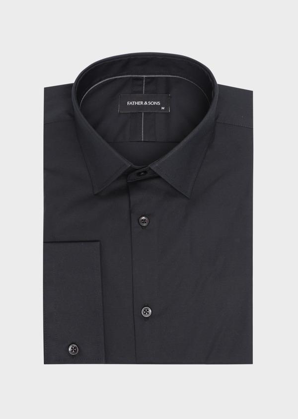 Chemise habillée Slim en satin de coton uni noir - Father and Sons 34984
