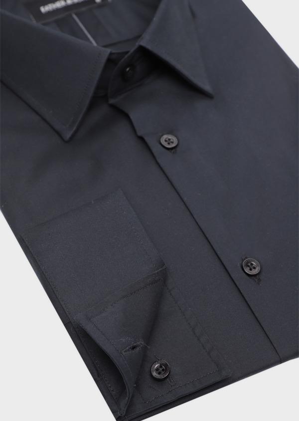 Chemise habillée Slim en satin de coton uni noir - Father and Sons 34987