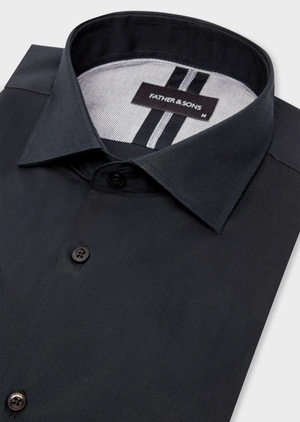 Chemise habillée Slim en satin de coton uni noir - Father and Sons 38409