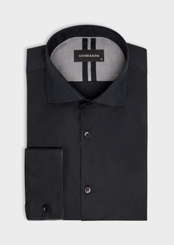 Chemise habillée Slim en satin de coton uni noir - Father and Sons 38407