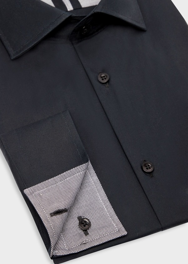 Chemise habillée Slim en satin de coton uni noir - Father and Sons 38410