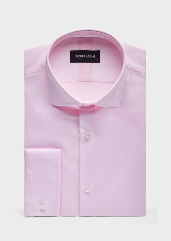 Chemise habillée Slim en popeline de coton mélangé uni rose pâle - Father and Sons 39361