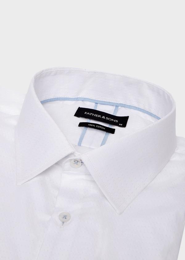 Chemise habillée Slim en coton façonné uni blanc - Father and Sons 41723