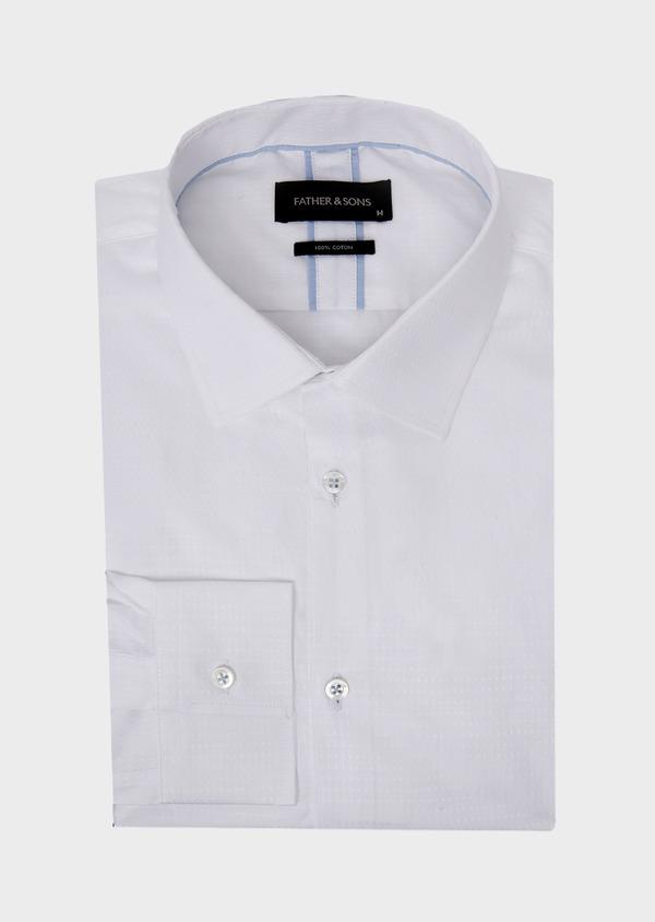 Chemise habillée Slim en coton façonné uni blanc - Father and Sons 41721