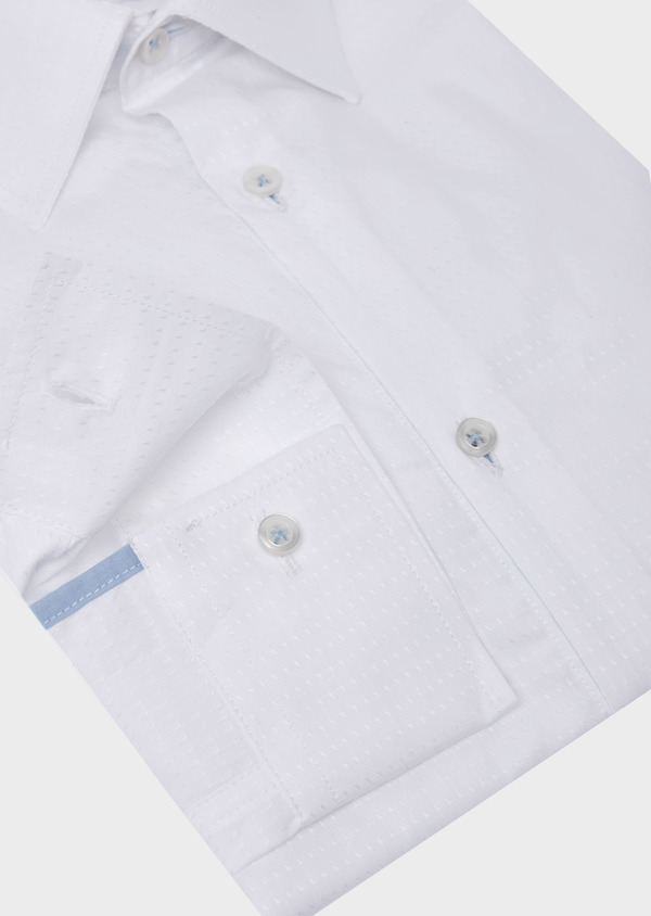 Chemise habillée Slim en coton façonné uni blanc - Father and Sons 41724