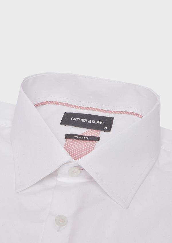Chemise habillée Slim en coton façonné uni blanc - Father and Sons 41727