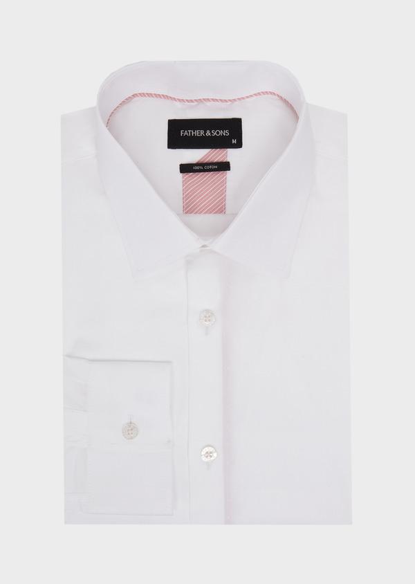 Chemise habillée Slim en coton façonné uni blanc - Father and Sons 41725