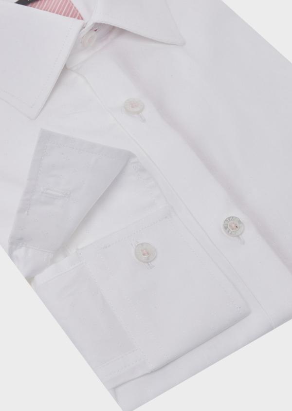 Chemise habillée Slim en coton façonné uni blanc - Father and Sons 41728