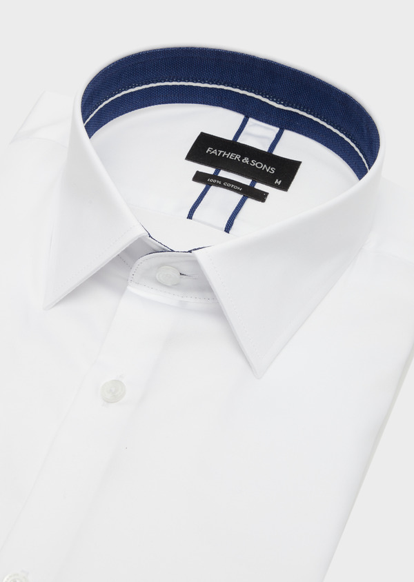 Chemise habillée Slim en satin de coton uni blanc - Father and Sons 40825