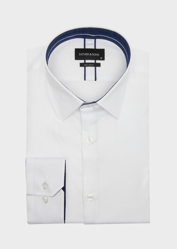 Chemise habillée Slim en satin de coton uni blanc - Father and Sons 40823