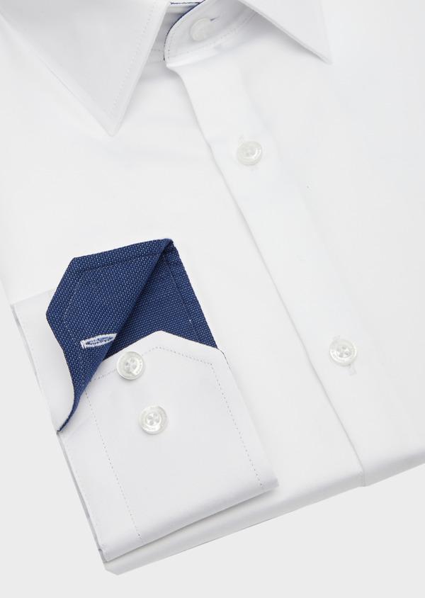 Chemise habillée Slim en satin de coton uni blanc - Father and Sons 40826