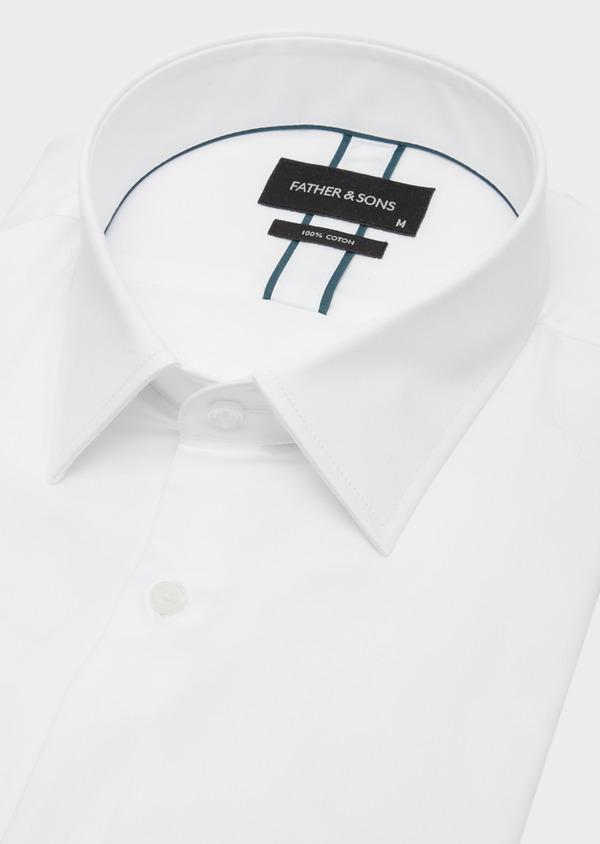 Chemise habillée Regular en satin de coton uni blanc - Father and Sons 40829