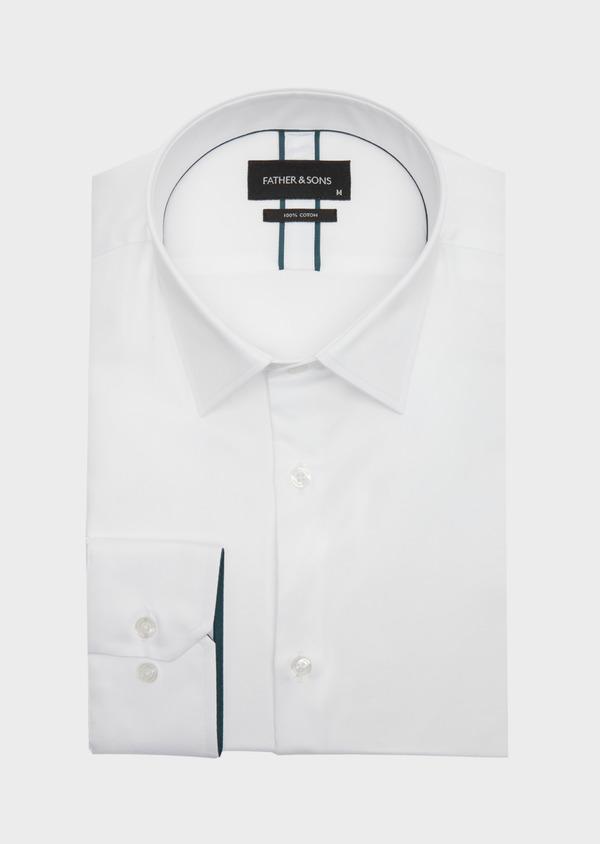 Chemise habillée Regular en satin de coton uni blanc - Father and Sons 40827
