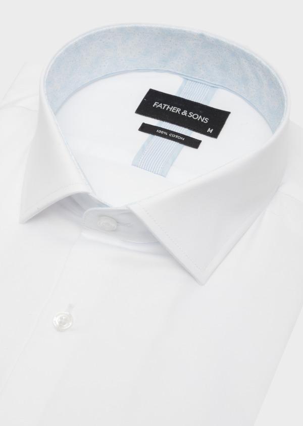 Chemise habillée Slim en satin de coton uni blanc - Father and Sons 41731