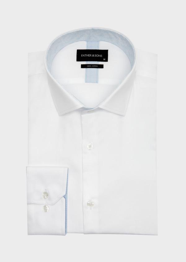 Chemise habillée Slim en satin de coton uni blanc - Father and Sons 41729