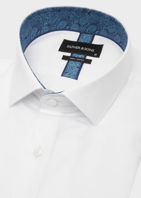 Chemise habillée Regular en satin de coton uni blanc - Father and Sons 41735