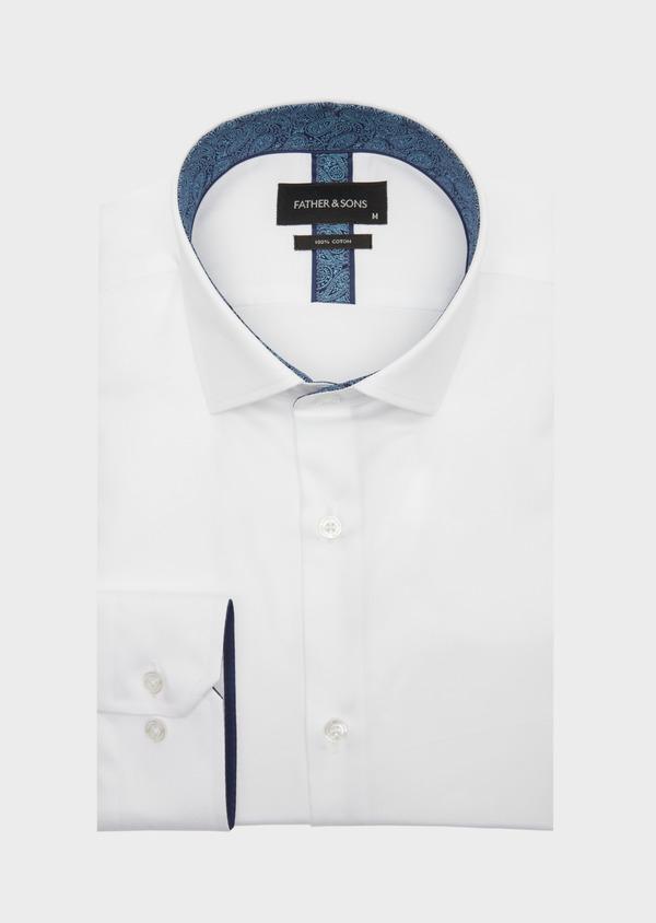 Chemise habillée Regular en satin de coton uni blanc - Father and Sons 41733