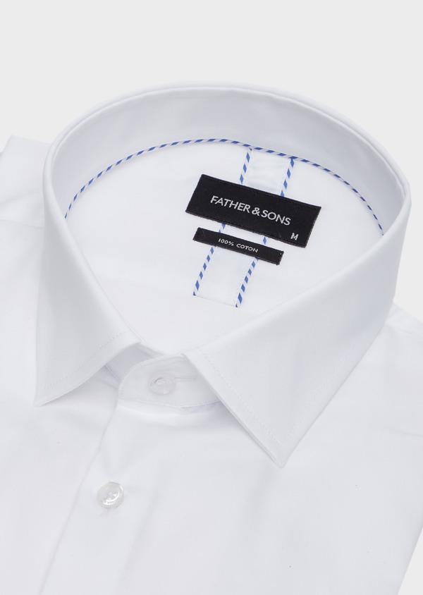 Chemise habillée Slim en satin de coton uni blanc - Father and Sons 40833