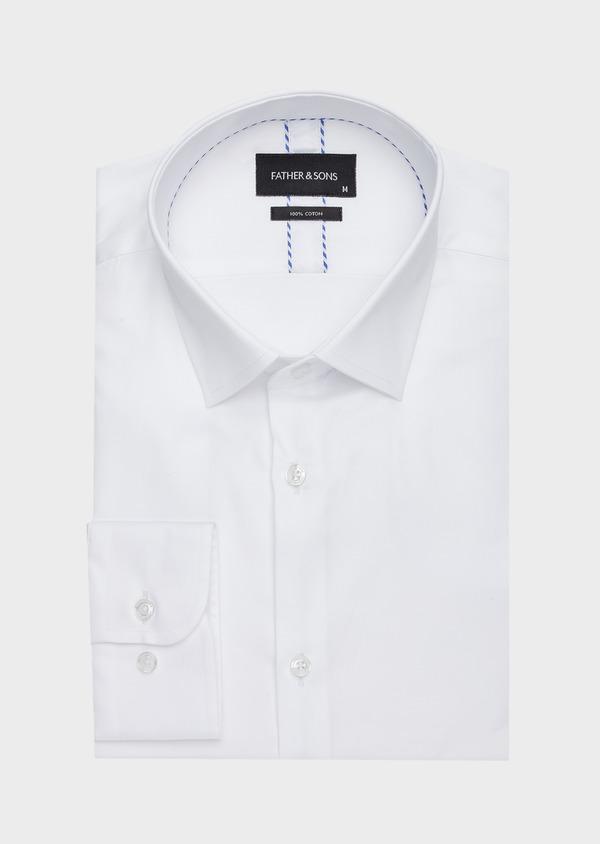 Chemise habillée Slim en satin de coton uni blanc - Father and Sons 40831