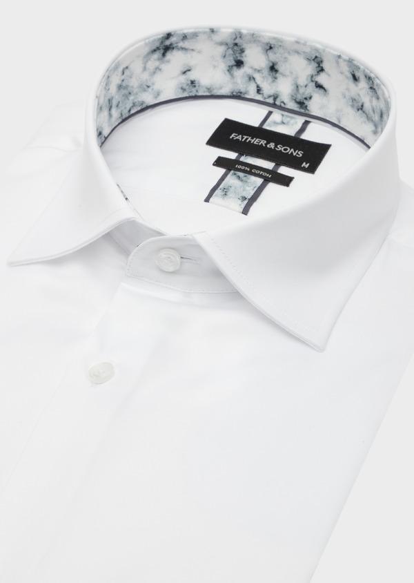 Chemise habillée Slim en satin de coton uni blanc - Father and Sons 41739