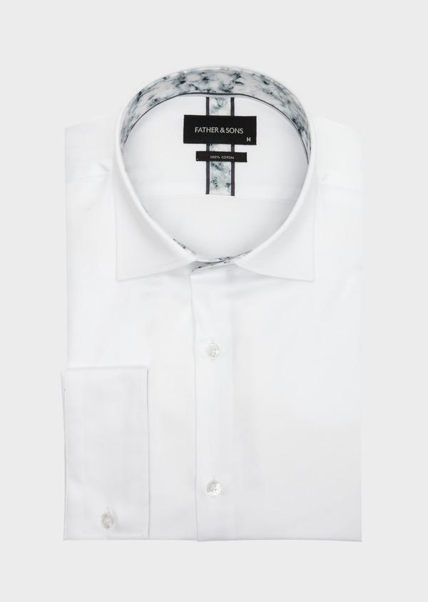 Chemise habillée Slim en satin de coton uni blanc - Father and Sons 41737