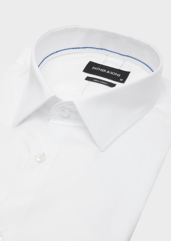 Chemise habillée Slim en satin de coton uni blanc - Father and Sons 40841