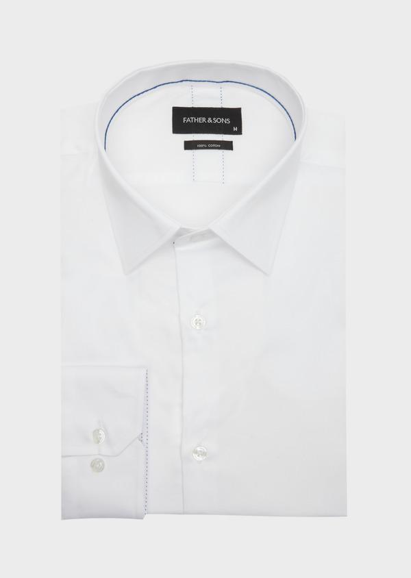 Chemise habillée Slim en satin de coton uni blanc - Father and Sons 40839