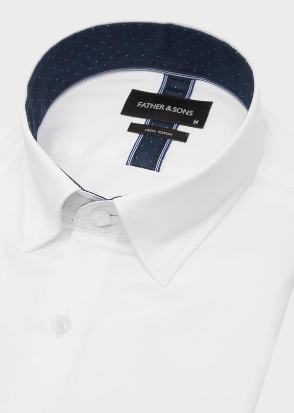 Chemise habillée Slim en satin de coton uni blanc - Father and Sons 41743