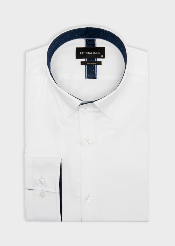 Chemise habillée Slim en satin de coton uni blanc - Father and Sons 41741
