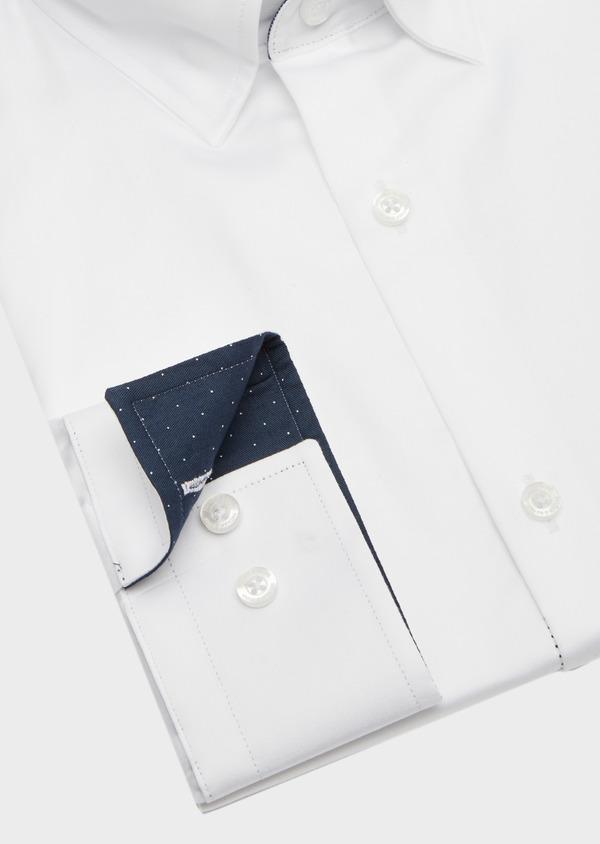 Chemise habillée Slim en satin de coton uni blanc - Father and Sons 41744