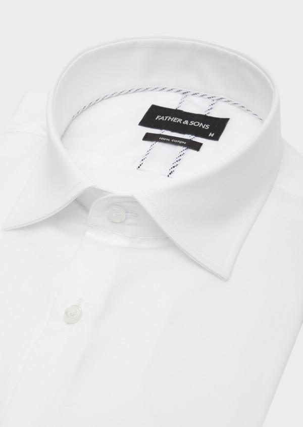 Chemise habillée Slim en satin de coton uni blanc - Father and Sons 41747