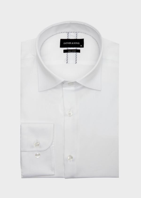 Chemise habillée Slim en satin de coton uni blanc - Father and Sons 41745