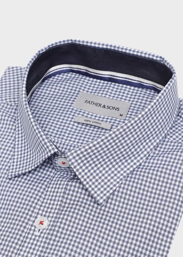 Chemise sport Regular en popeline de coton à carreaux blanc et bleu - Father and Sons 32600