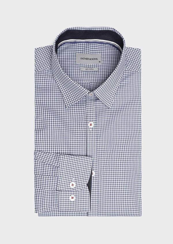 Chemise sport Regular en popeline de coton à carreaux blanc et bleu - Father and Sons 32598