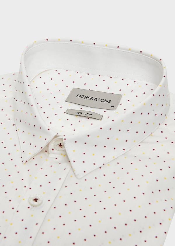 Chemise sport Regular en popeline de coton blanc à motif fantaisie jaune et bordeaux - Father and Sons 32592