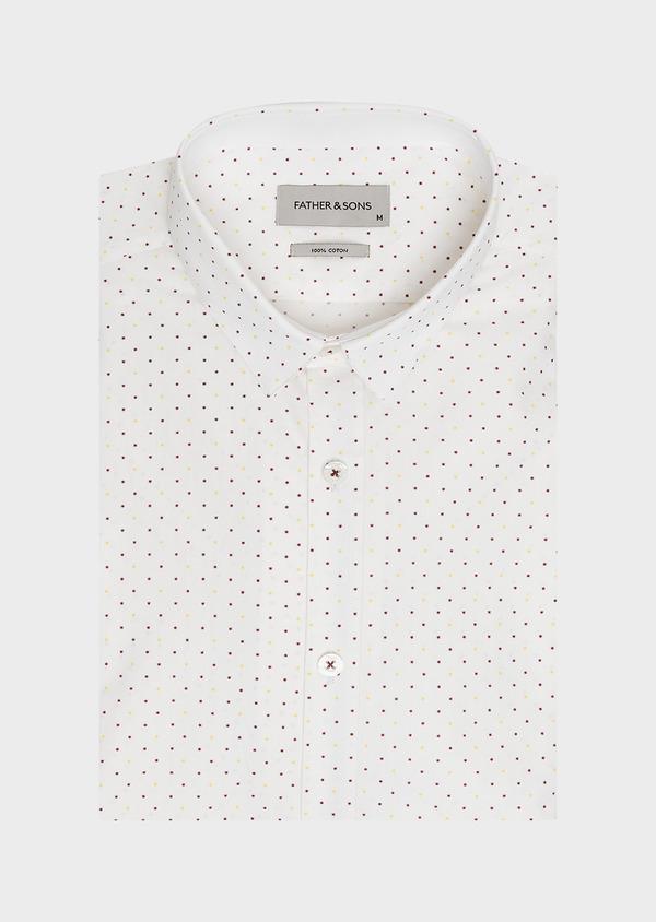Chemise sport Regular en popeline de coton blanc à motif fantaisie jaune et bordeaux - Father and Sons 32590