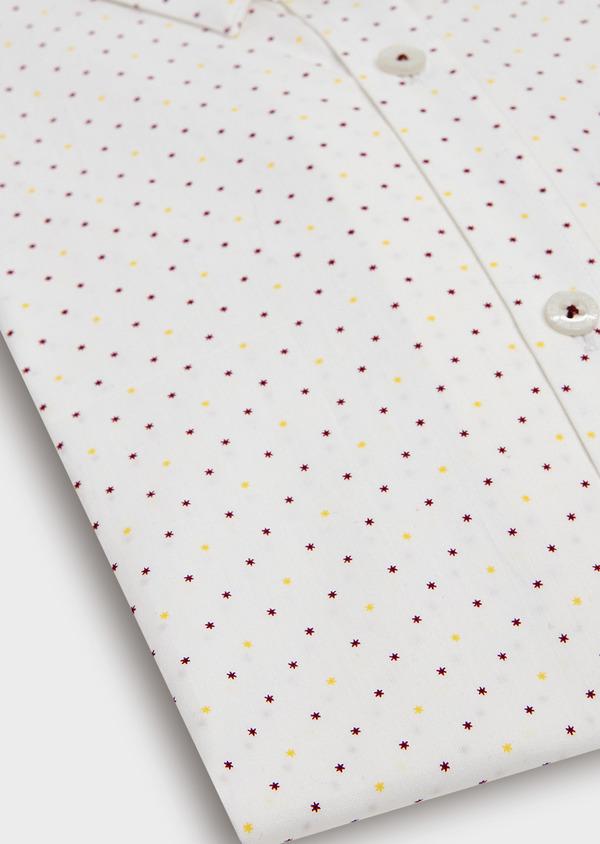 Chemise sport Regular en popeline de coton blanc à motif fantaisie jaune et bordeaux - Father and Sons 32593
