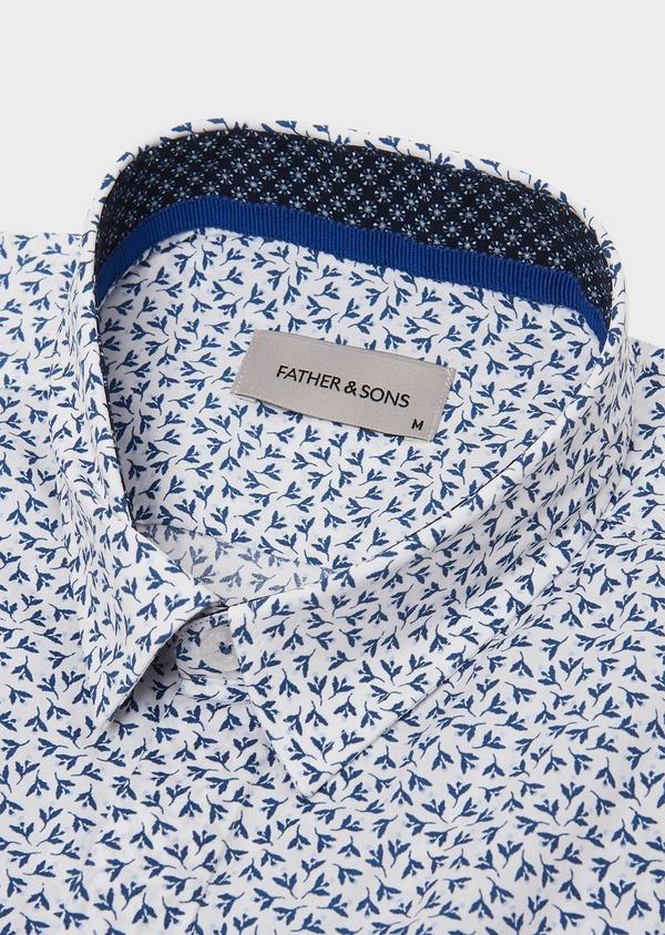 Chemise sport Slim en popeline de coton blanc à motif fleuri bleu - Father and Sons 26305