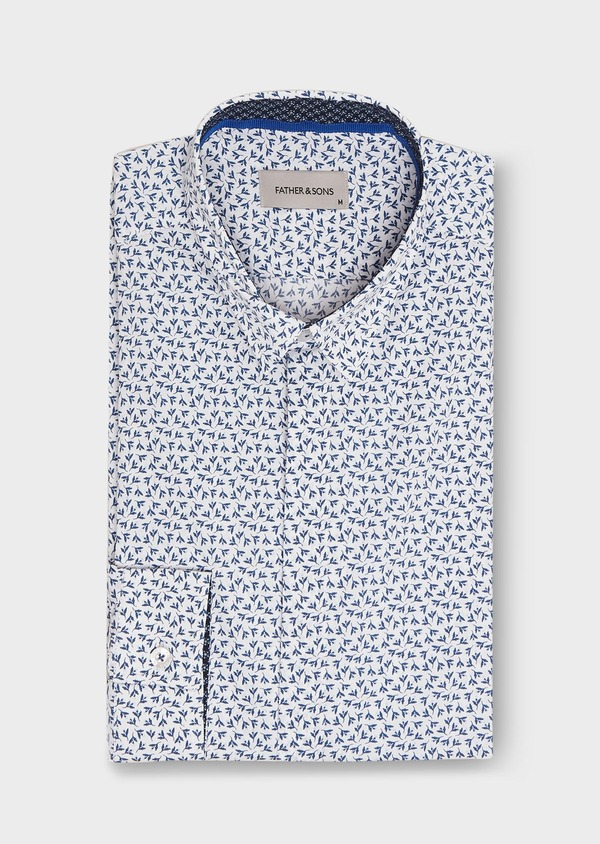 Chemise sport Slim en popeline de coton blanc à motif fleuri bleu - Father and Sons 26303