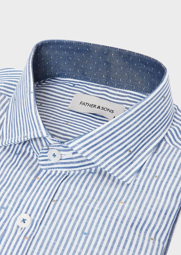 Chemise sport Slim en lin et coton blanc à rayures bleues - Father and Sons 32532