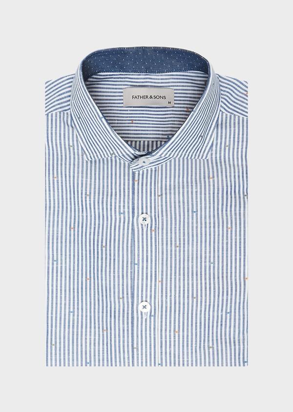 Chemise sport Slim en lin et coton blanc à rayures bleues - Father and Sons 32530