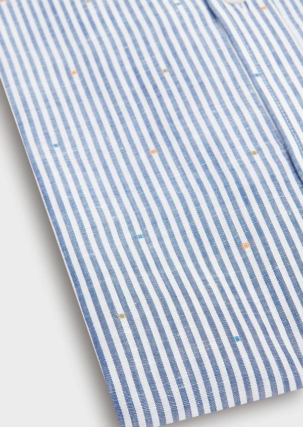 Chemise sport Slim en lin et coton blanc à rayures bleues - Father and Sons 32533