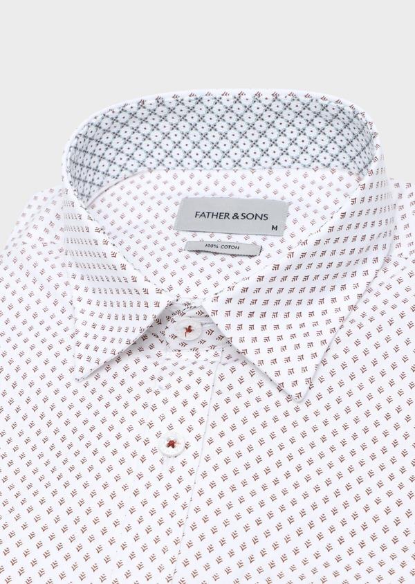 Chemise sport Slim en popeline de coton blanc à motif fantaisie - Father and Sons 33704