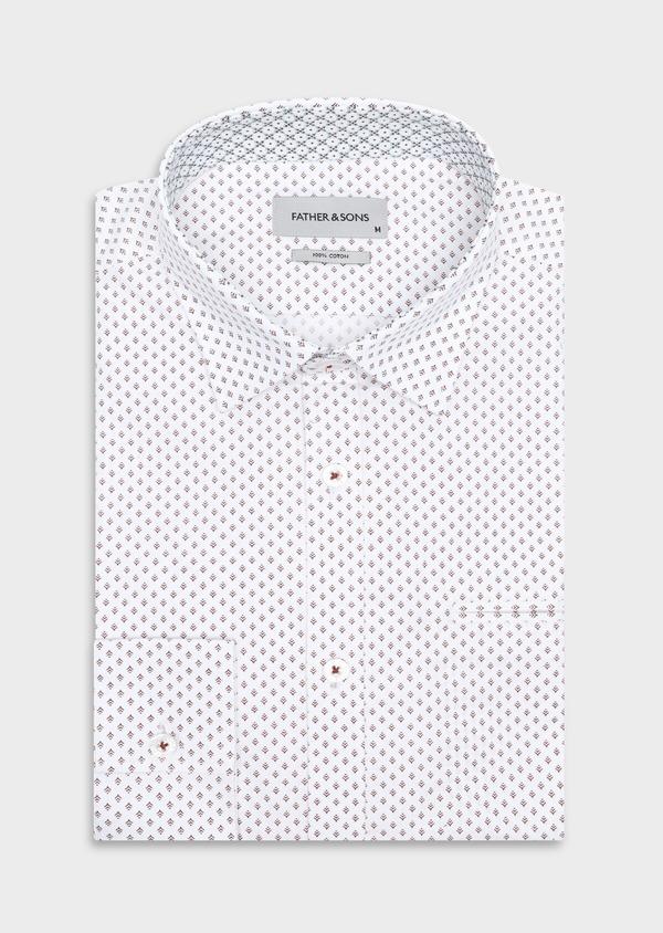 Chemise sport Slim en popeline de coton blanc à motif fantaisie - Father and Sons 33702