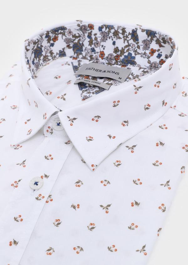 Chemise manches courtes Slim en popeline de coton à motif fantaisie blanc - Father and Sons 34392
