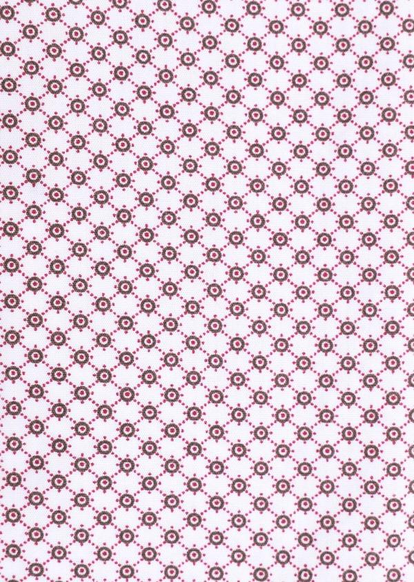 Chemise manches courtes Slim en popeline de coton blanc à motif fantaisie - Father and Sons 34358
