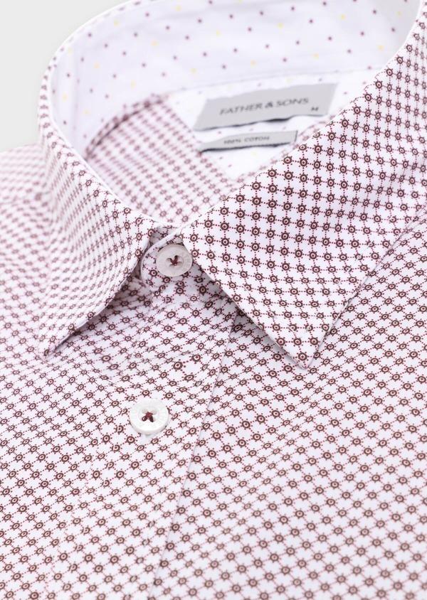 Chemise manches courtes Slim en popeline de coton blanc à motif fantaisie - Father and Sons 34359