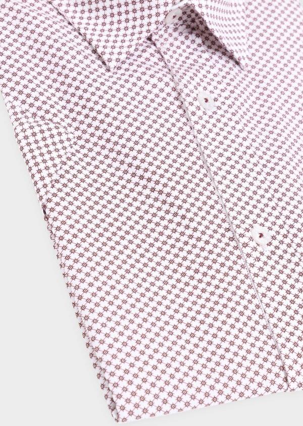 Chemise manches courtes Slim en popeline de coton blanc à motif fantaisie - Father and Sons 34360