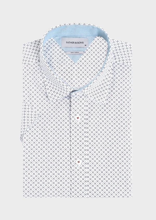 Chemise manches courtes Slim en coton façonné blanc à motif fantaisie - Father and Sons 34403