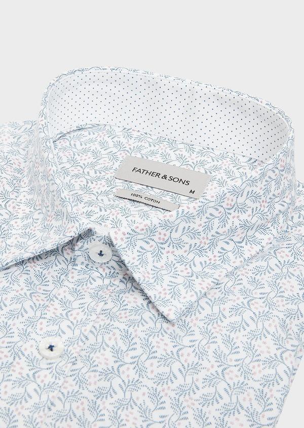 Chemise sport Slim en popeline de coton à motif fantaisie bleu et violet - Father and Sons 32576